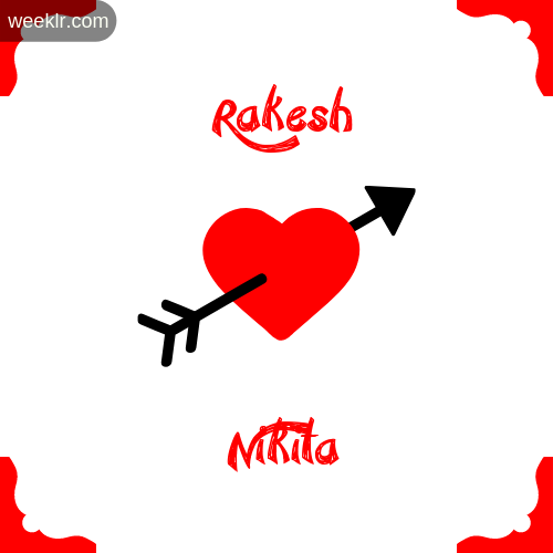 -Rakesh- Name on Cross Heart With - Nikita- Name Wallpaper Photo