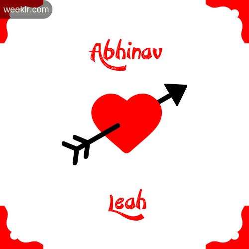 Abhinav Name on Cross Heart With  Leah  Name Wallpaper Photo