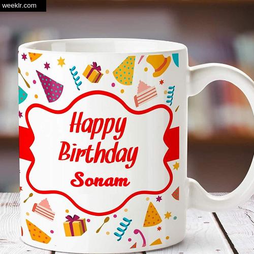 Sonam Name on Happy Birthday Cup Photo Images