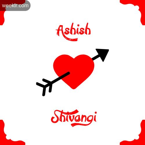Ashish Name on Cross Heart With  Shivangi  Name Wallpaper Photo