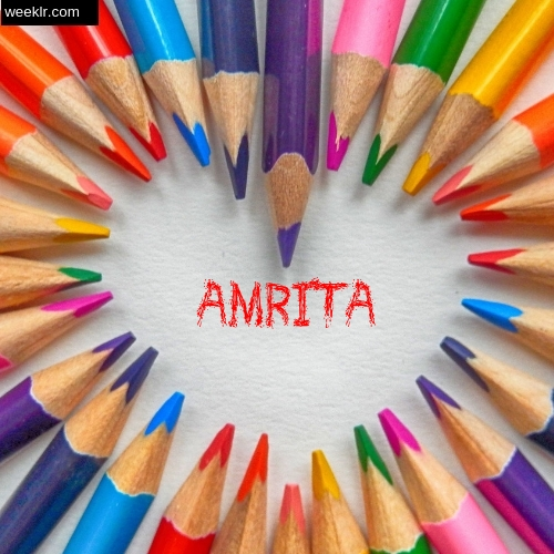 Heart made with Color Pencils with name Amrita Images