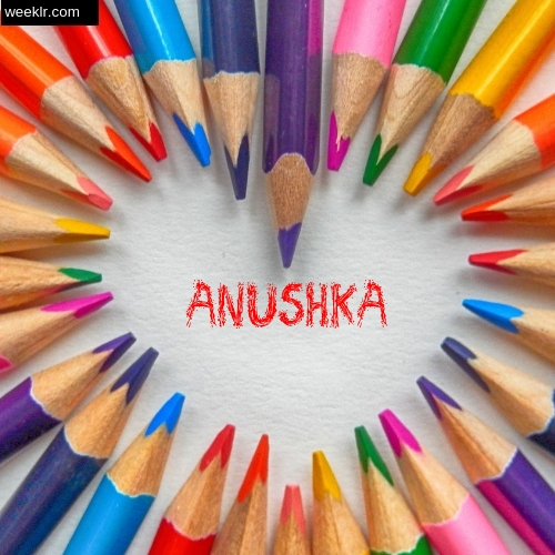 Heart made with Color Pencils with name Anushka Images
