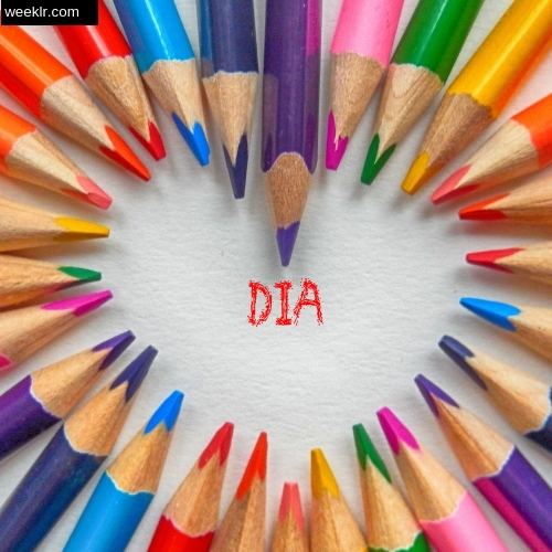 Heart made with Color Pencils with name Dia Images