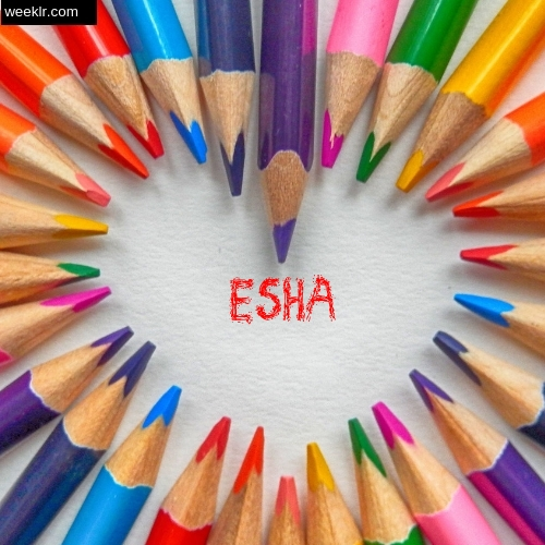 Heart made with Color Pencils with name Esha Images