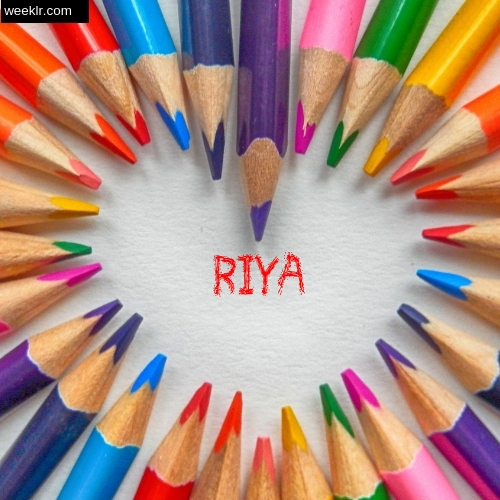 Heart made with Color Pencils with name Riya Images