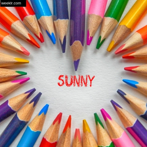 Heart made with Color Pencils with name Sunny Images