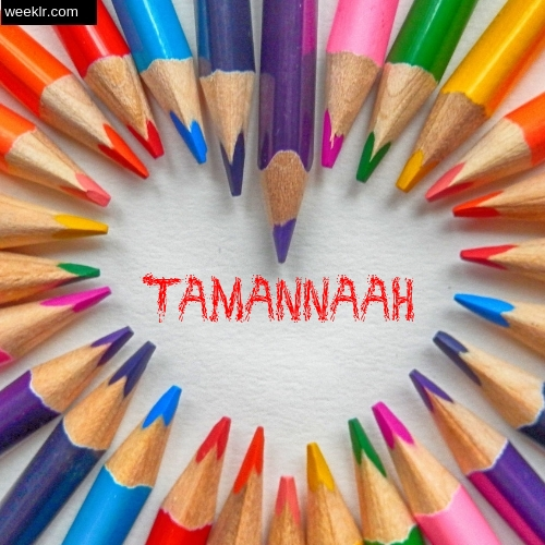 Heart made with Color Pencils with name Tamannaah Images