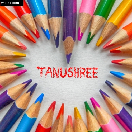 Heart made with Color Pencils with name Tanushree Images