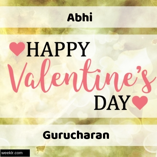 Write -Abhi- and -Gurucharan- on Happy Valentine Day Image