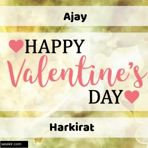 Write -Ajay-- and -Harkirat- on Happy Valentine Day Image