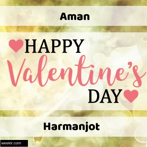 Write -Aman-- and -Harmanjot- on Happy Valentine Day Image