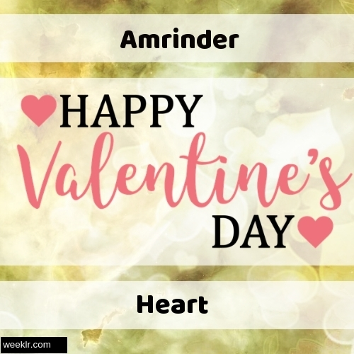 Write Amrinder and Heart on Happy Valentine Day  Image