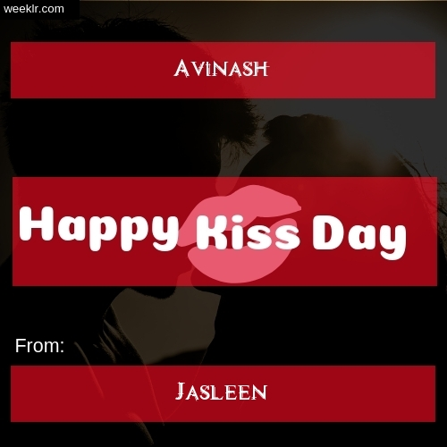 Write -Avinash- and -Jasleen- on kiss day Photo