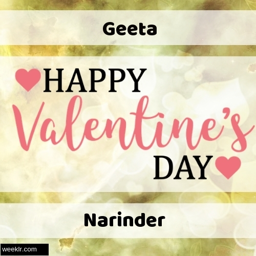 Write -Geeta-- and -Narinder- on Happy Valentine Day Image