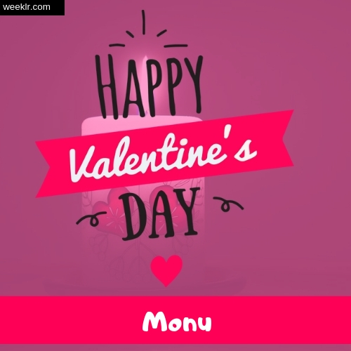 Write -Monu- Name on Happy Valentine Day Photo Card