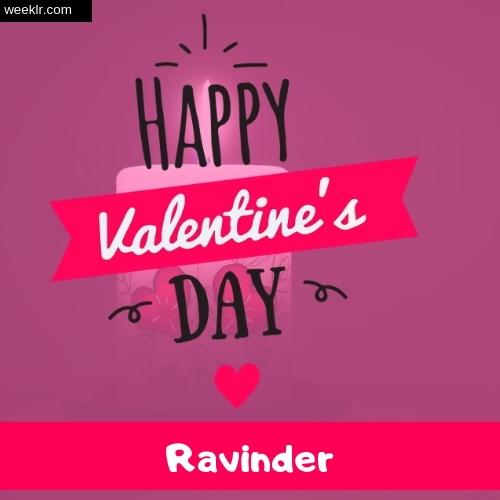 Write -Ravinder- Name on Happy Valentine Day Photo Card