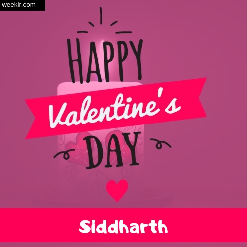Write -Siddharth- Name on Happy Valentine Day Photo Card