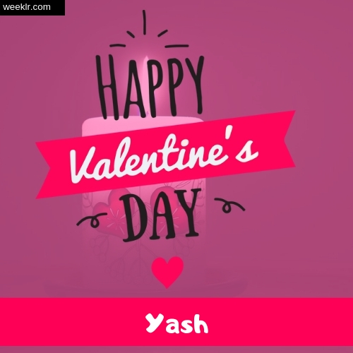 Write -Yash- Name on Happy Valentine Day Photo Card