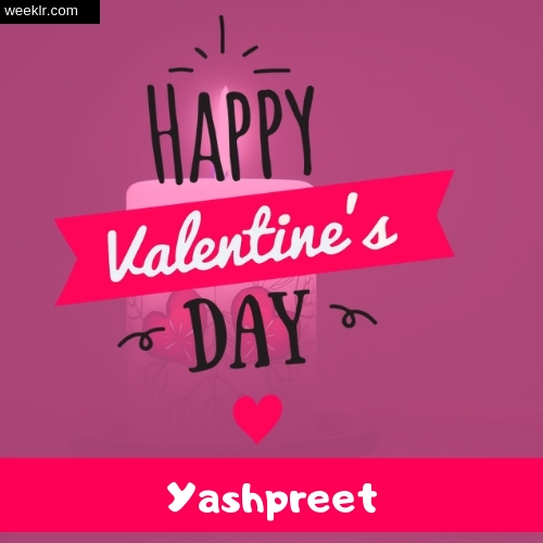 Write -Yashpreet- Name on Happy Valentine Day Photo Card