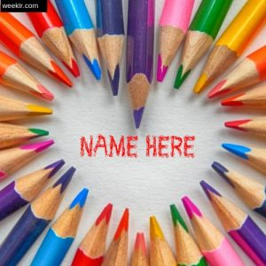 Write Name in Color Pencils  Heart shaped Photo Card