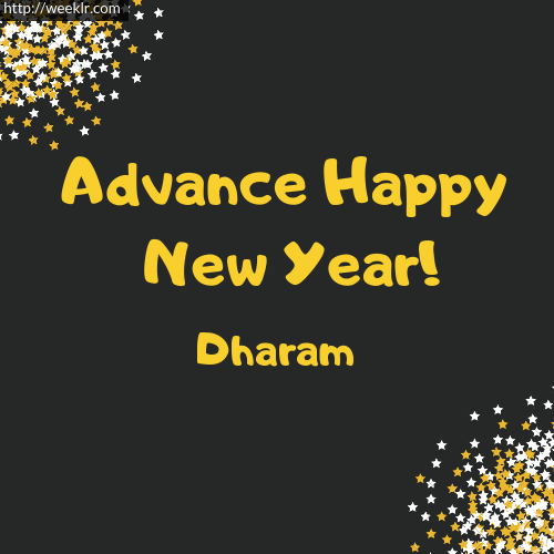 -Dharam- Advance Happy New Year to You Greeting Image