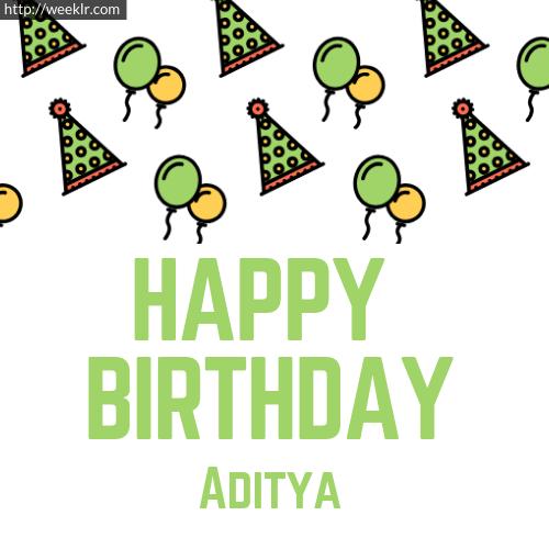 Download Happy birthday -Aditya- with Cap Balloons image
