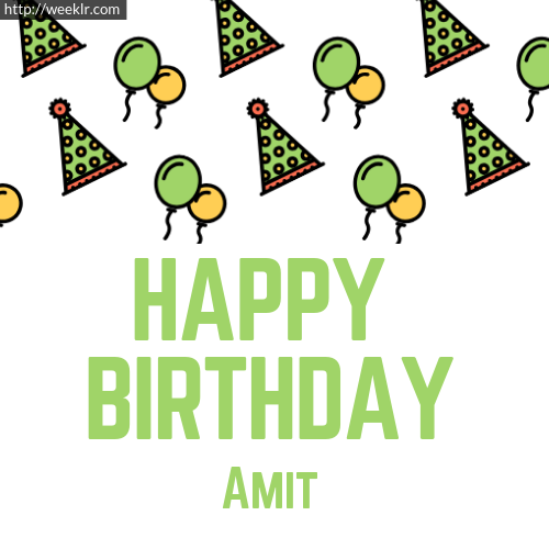 Download Happy birthday -Amit- with Cap Balloons image