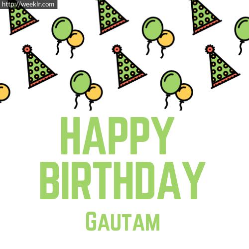 Download Happy birthday -Gautam- with Cap Balloons image