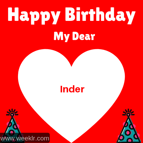 Happy Birthday My Dear -Inder- Name Wish Greeting Photo
