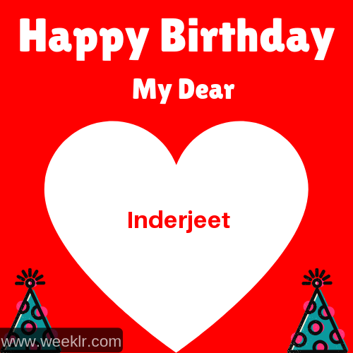 Happy Birthday My Dear -Inderjeet- Name Wish Greeting Photo