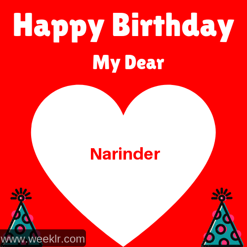 Happy Birthday My Dear -Narinder- Name Wish Greeting Photo