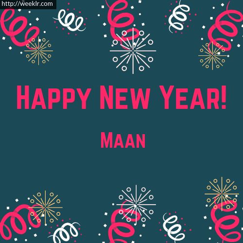 Maan Happy New Year Greeting Card Images
