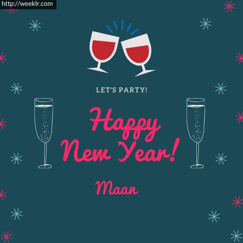 -Maan- Happy New Year Name Greeting Photo