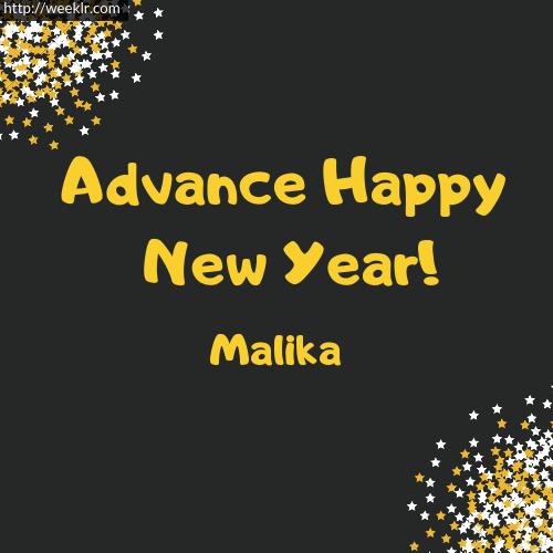 -Malika- Advance Happy New Year to You Greeting Image