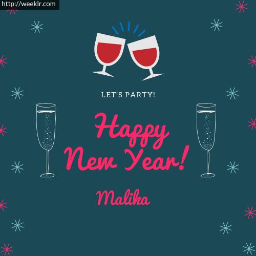 Malika Happy New Year Name Greeting Photo