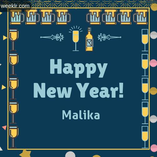 -Malika- Name On Happy New Year Images