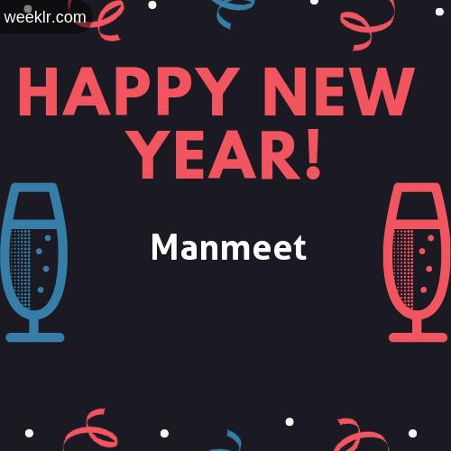 -Manmeet- Name on Happy New Year Image