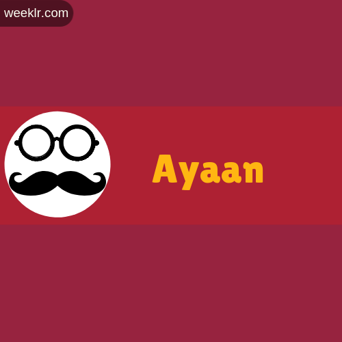Moustache Men Boys -Ayaan- Name Logo images
