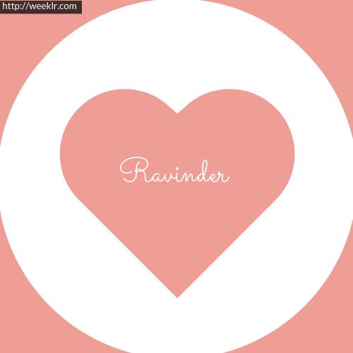 Pink Color Heart -Ravinder- Logo Name