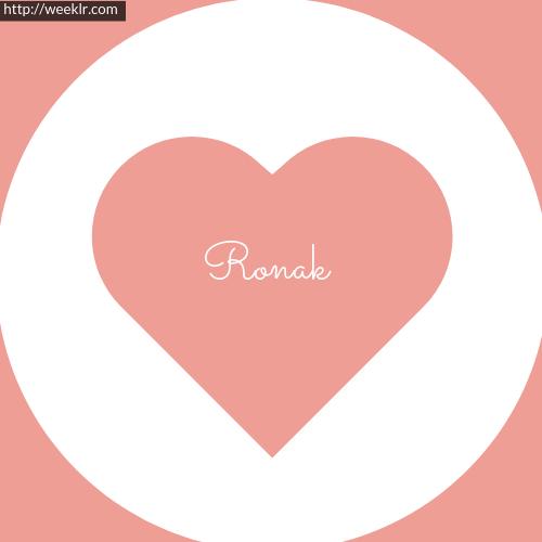 Pink Color Heart Ronak Logo Name
