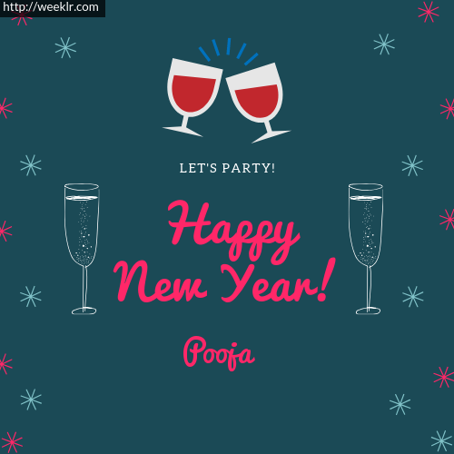 -Pooja- Happy New Year Name Greeting Photo
