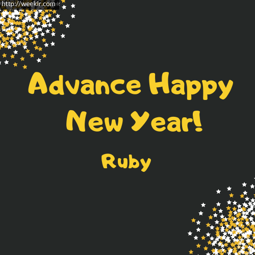 -Ruby- Advance Happy New Year to You Greeting Image