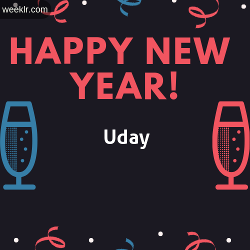 -Uday- Name on Happy New Year Image