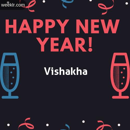 -Vishakha- Name on Happy New Year Image