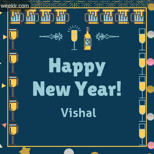 -Vishal- Name On Happy New Year Images