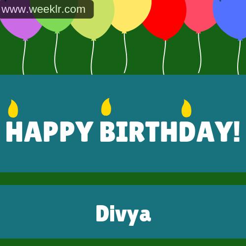 Balloons Happy Birthday Photo With -Divya- Name
