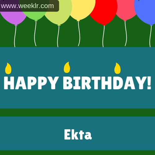 Balloons Happy Birthday Photo With EktaName