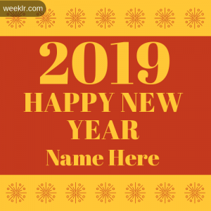 Write Name on 2019 Happy New Year Photo Card