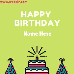 Write Name on Happy Birthday Cap Cake photo