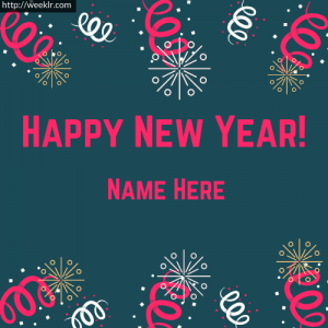 Write Name on Happy New Year Ribbons Pink Color Photo Card